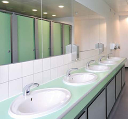 Vanity units and basins from Armitage Venesta, installed at St Paul's Academy in Greenwich