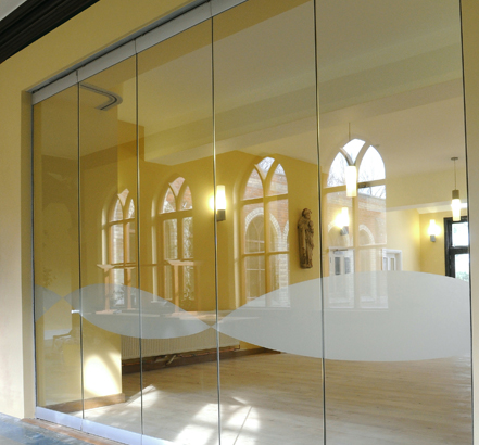 Becker's Monoglass partition, installed at Our Lady of England Priory in Storrington