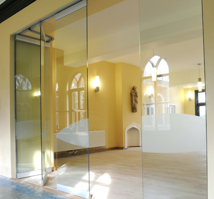 Becker's Monoglass partition at Our Lady of England Priory, partially slid open