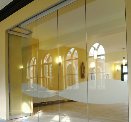 Becker's Monoglass partition at Our Lady of England Priory, with one panel open