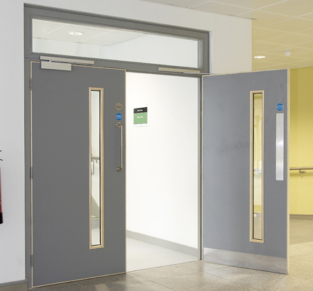 Swing door units for high-pedestrian areas