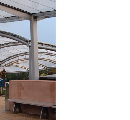 AES steel that is media blasted, primed, and liquid painted supports the canopies