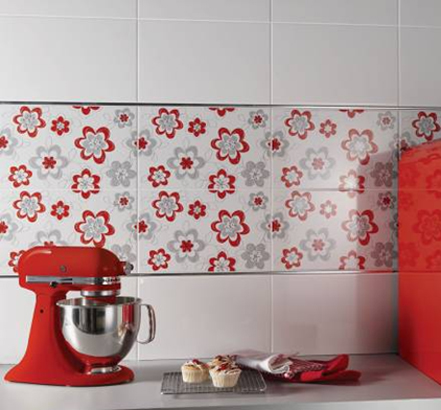 Tile Giant Floral, Red
