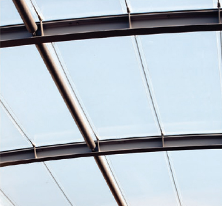 Cables provide tension to a single layer of ETFE with screen printing