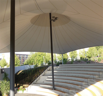 The CTF membrane structure creates shade and cover from rain