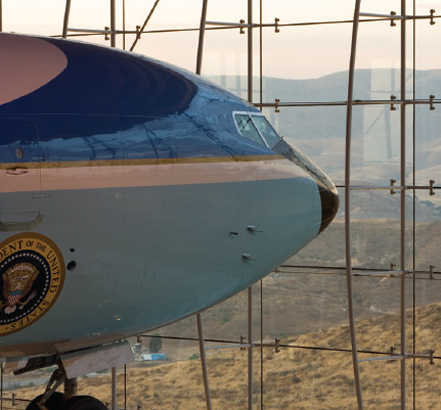 The transparent facade showcases Air Force One
