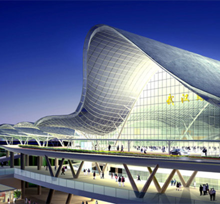 Natural smoke ventilation system, installed at Wuhan Railway Station in China