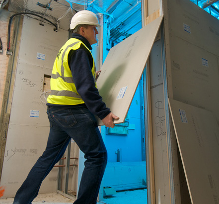 Knauf Aquapanel is a safeguard against tile adhesion failures in drywall constructions