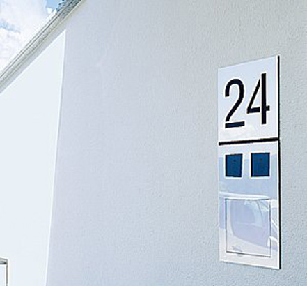 The house number has been laser cut into the solid stainless-steel