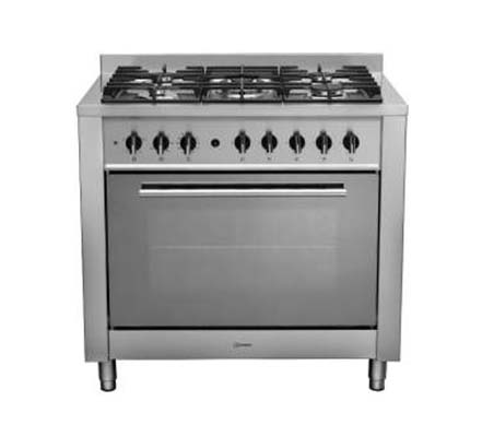 Indesit range cooker, stainless steel