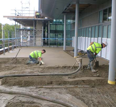 Topcem fast-track screed, applied at Wimbledon