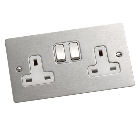 Sheer double sockets, stainless-steel finish with White inserts