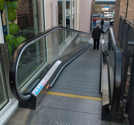 External moving walkway with LED lighting at the 5Rise Shopping Centre, Bingley, west Yorkshire