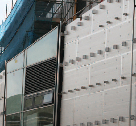 South-east elevation during rainscreen installation