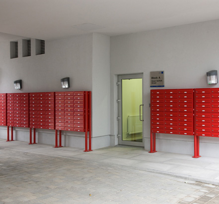 Banks of Red mailboxes, installed for the Unite Group
