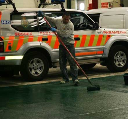 Sussex ambulance station commissioned a safe anti-slip surface from Ronacrete