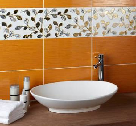 Mayfair wall tiles in Mango, with Grove inserts