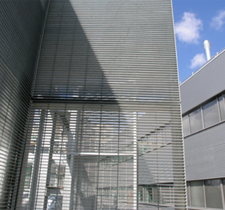 Potissimum grating screens the service plant at Suffolk New College
