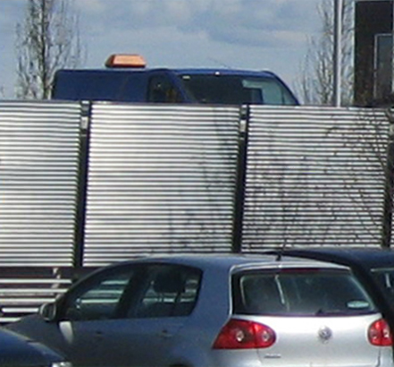 Screening for the car-park area at Portlaoise is made from Orsogril's Talia range of steel louvres