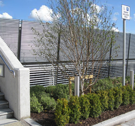 Talia steel louvres provide visual screening for Portlaoise
