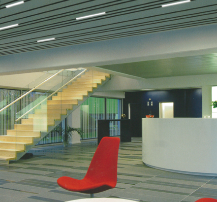 These decorative and subtle bands of light enhance the Linear Metal Ceilings and also provide way-finding solutions
