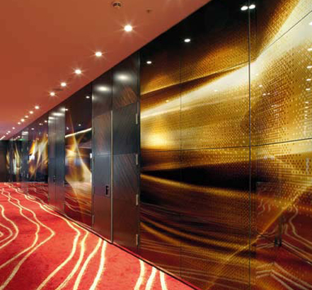 Movable walls at Park Plaza use a range of high-quality finishes, such as art on glass