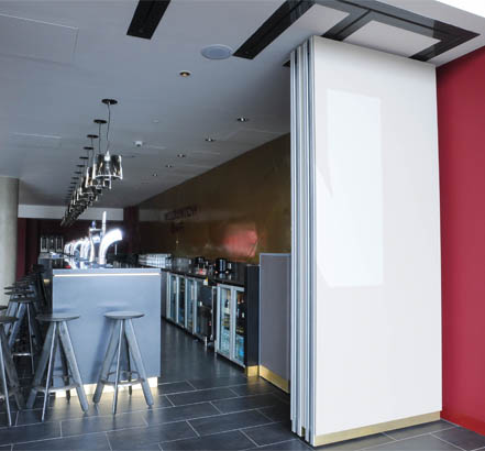 Parked Monoplan S movable wall panels, in-situ at the Emirates Stadium