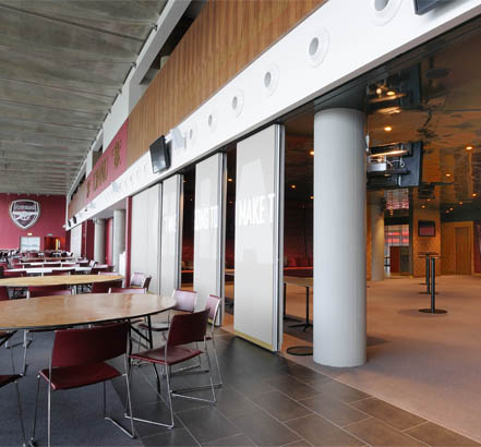 Becker's Monoplan S movable wall at the Emirates Stadium, partially open