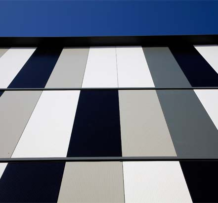 Close-up of a Kingspan Insulated Panels facade system, installed in Bolton Town Centre