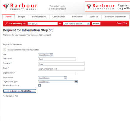 Request for Information - sign up for the Barbour Product Search newsletter (Step 3 of RFI form)