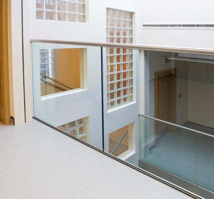 Glass balustrading creates a gallery over the void