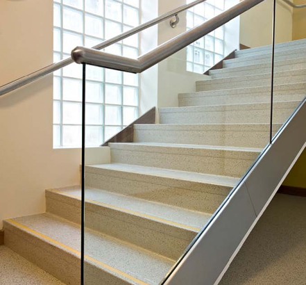 Showing the stainless trim and integral stainless handrail