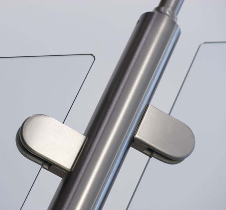 Close-up image showing glass clamping system