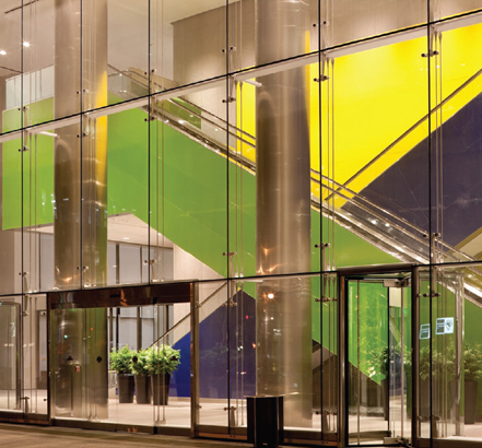 The impressive entrance  for the Wilshire Boulevard building created by Novum Structures