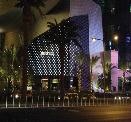 The new Prada store in Las Vegas at night