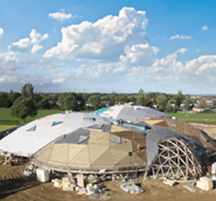 The Pods at Central Park is the UK's largest timber-built geodesic project