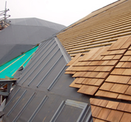 Two of the Pods are finished with individually laid shingle tiles