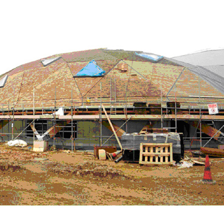 The different application of RENOLIT ALKORPLAN on each dome was awarded first place at the NFRC roofing awards, 2011