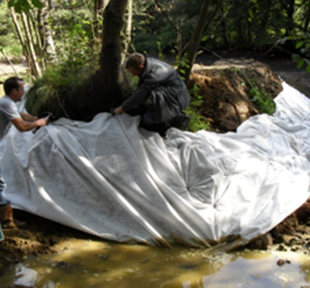 Geotextile fabrics in the Surrey Hills