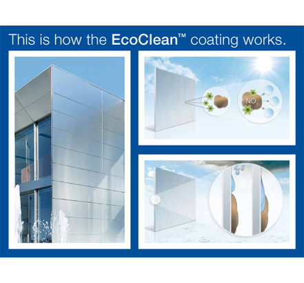 EcoClean; aluminium cladding that disperses dirt and smog