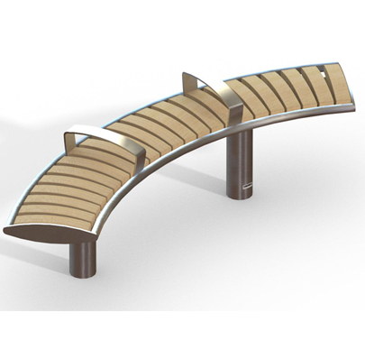 Zenith Radial Stainless Steel Timber Bench