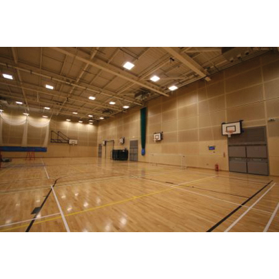 Tavaperf timber acoustic panels for seven sports halls