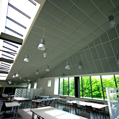 Hunter Douglas stretch Metal LS8 1200mmx600mm tiles, Newcastle Sixth Form College
