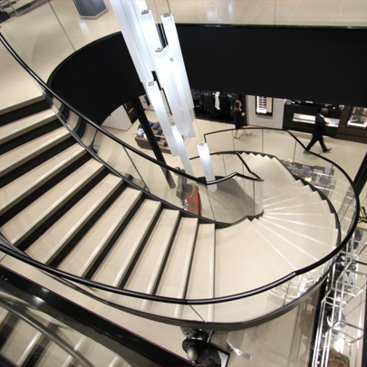 CANAL Architectural helical staircase Hugo Boss