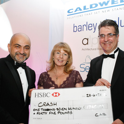 Cheque presentation from the Council of Aluminium. Money was raised at their annual gala dinner and presented to CRASH Chief Executive Francesca Roberts on the evening.
