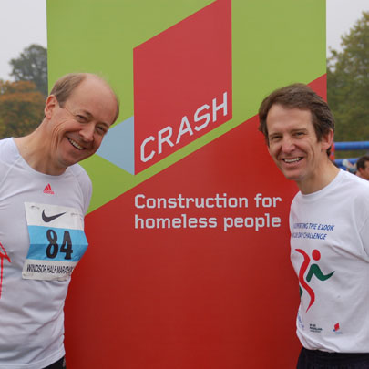 CRASH Chairman Ian Tyler and British Gypsum's Managing Director Mike Chaldecott celebrate completing the annual Windsor Half Marathon. CRASH is one of the benefiting charities of this event