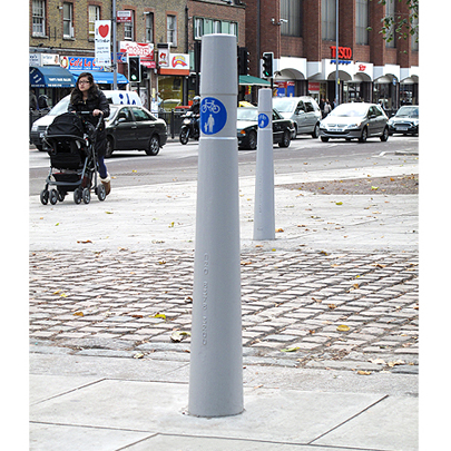 FURNITUBES AP100 Capital Bollards with vinyl cycle parking sign