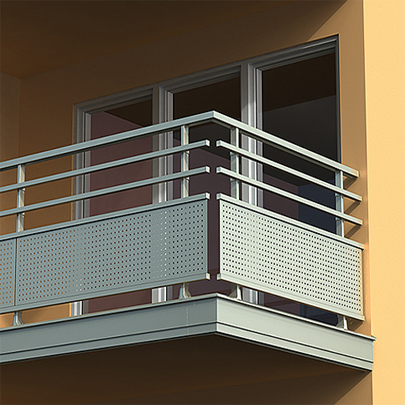 Dallnet Series N adjustable aluminium cladding system to protect balcony edges