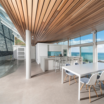 Hunter Douglas solid wood linear open ceiling for The Pavilion at Coldingham Bay