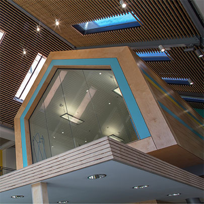 Blyth Workspace, wood grill ceiling
